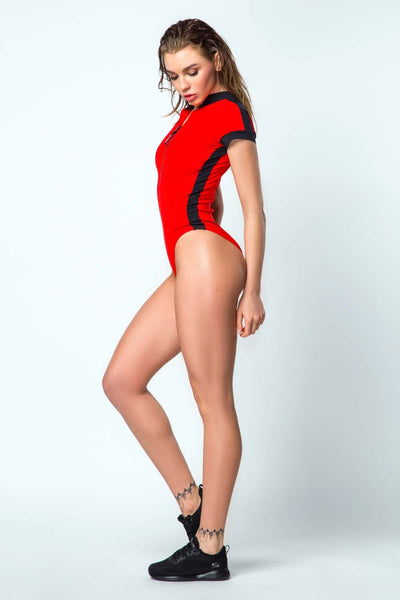 Swimsuit One-Piece Surf Sport Red Designed for Fitness Australia side