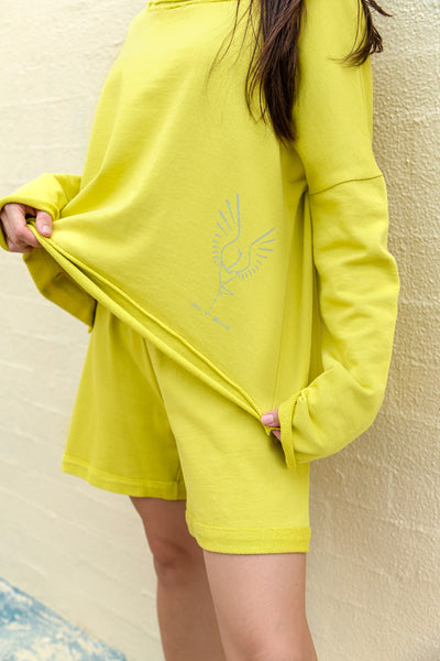 Sweatshirt Cotton Lime FIT BIRD