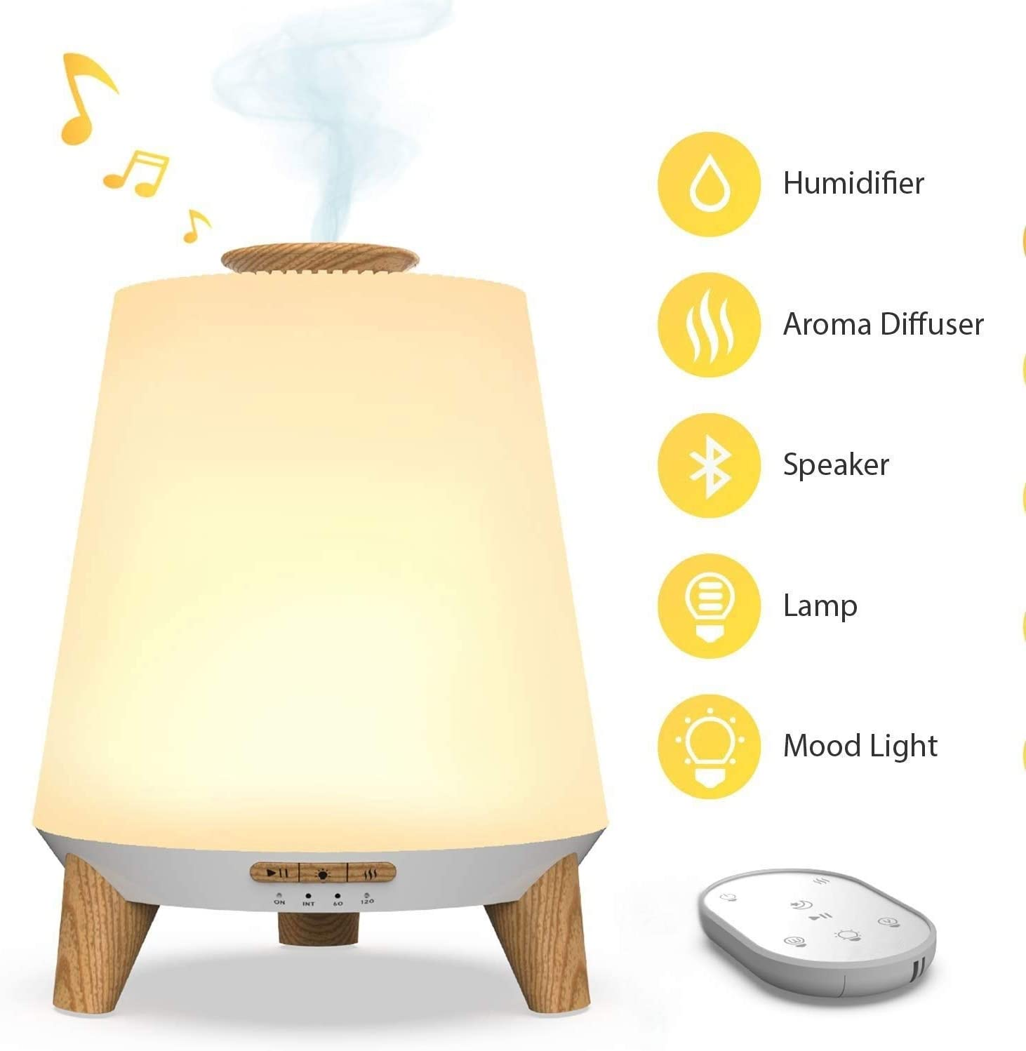 Bedroom Mini Humidifier Bedroom Ultrasonic Air Humidifier (Cool Fog and Aromatherapy Machine) with Remote Control 7 Color Remote Control Bluetooth Lullaby and White Noise Children Night Light