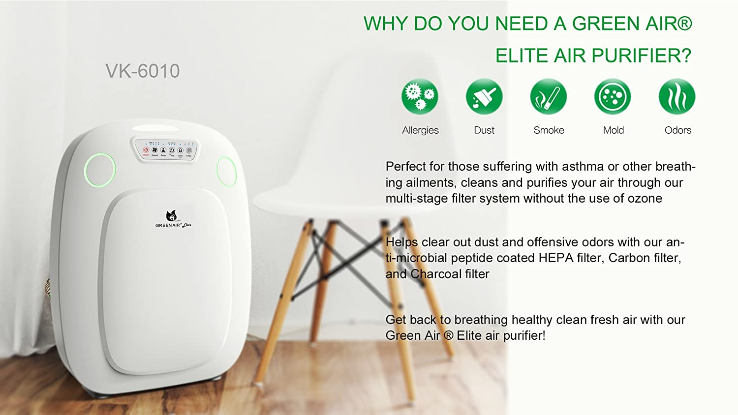 Elite HEPA and Odor Fighting Filter Air Purifier with IonCluster Technology for Large Rooms, HEPA, Carbon, and Charcoal filter for allergies, pets, odors, mold, dust, germs, smoke, 600 sq ft