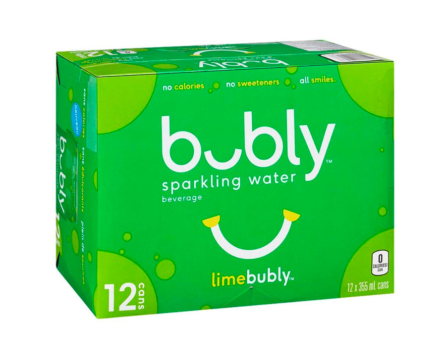 Bubly Sparkling Water - Lime - 12x355ml non-alcoholic drink Bubly