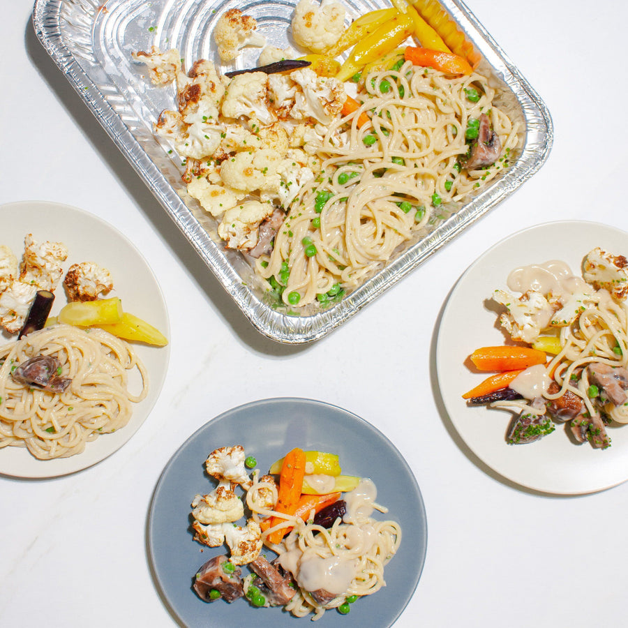 Vegan Carbonara with Roasted Vegetables (family and individual size meals avaliable) Ready-to-Eat Fed