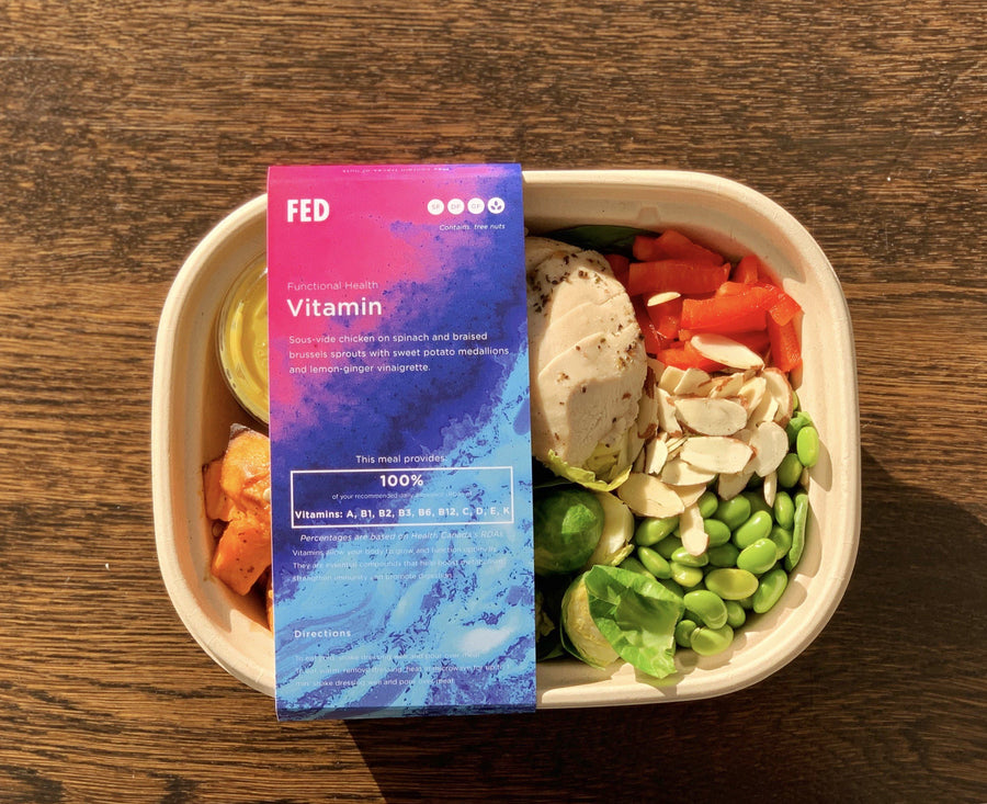 Vitamins - Sous Vide Chicken, Spinach & Braised Brussels Sprout Bowl The Grocery Store by Fed