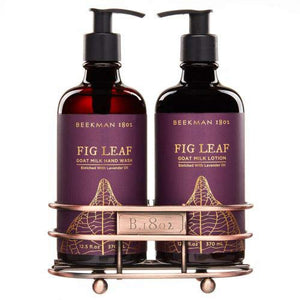 Beekman 1802 Fig Leaf Hand Wash and Lotion Caddy - Set of 2-12.5 Fluid Ounce bottles