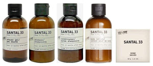 Le Labo Santal 33 Amenity Set of Shower Gel, Shampoo, Conditioner, Lotion, Soap.