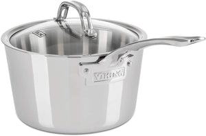 Viking Culinary Contemporary 3-Ply Stainless Steel Saucepan with Lid, 3.4 Quart