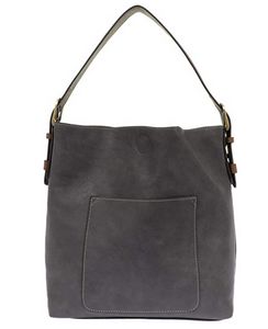 Joy Susan Women's Classic Hobo 2-in-1 Handbag - Slate Blue/Coffee