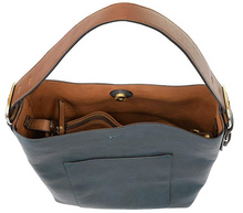 Load image into Gallery viewer, Joy Susan Women's Classic Hobo 2-in-1 Handbag - Dark Chambray