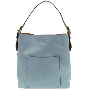 Joy Susan Women's Classic Hobo 2-in-1 Handbag - Seersucker Blue/Coffee