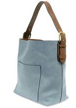 Load image into Gallery viewer, Joy Susan Women's Classic Hobo 2-in-1 Handbag - Seersucker Blue/Coffee