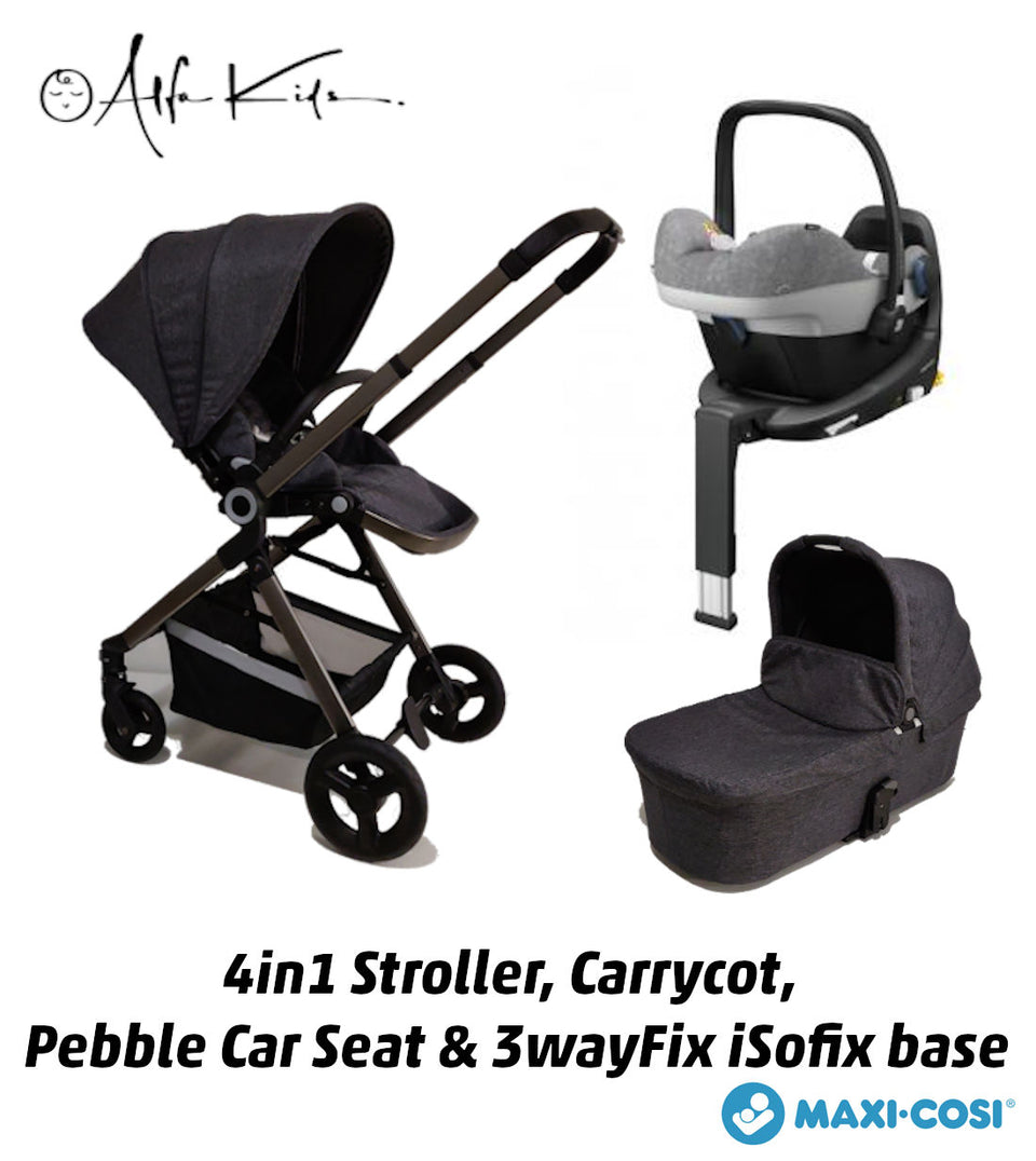 4 in 1 Alfa Kids Stroller, Carrycot, Maxi Cosi Pebble Plus Car Seat and iSofix Base - AlfaKids