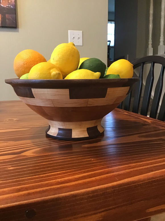 Walnut Cherry and Maple Wood Pedestal Fruit Bowl