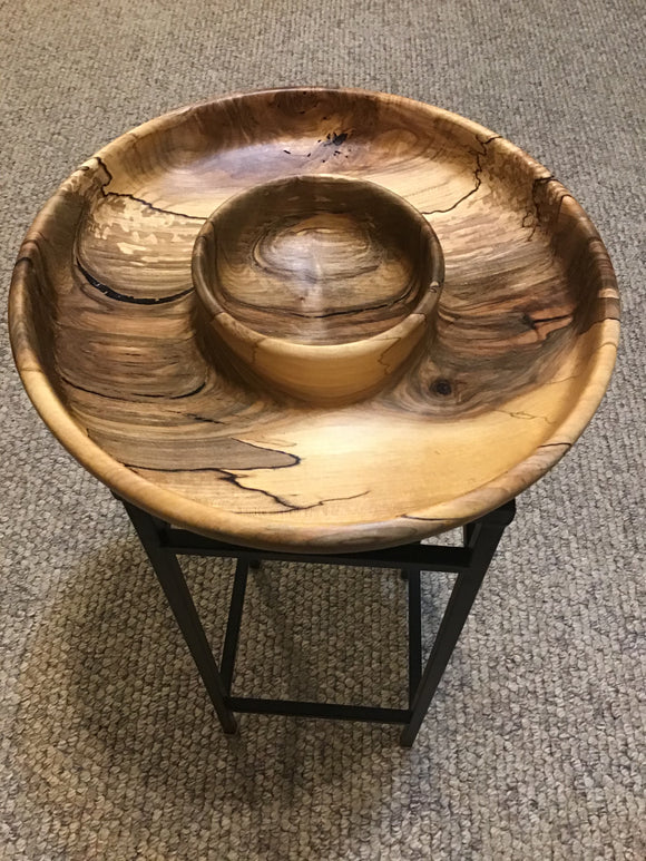 Spalted Maple Wood Chip & Dip Bowl