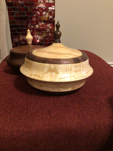 Walnut and Ash Wood Hand Turned  Segmented Jewelry Box with Lid