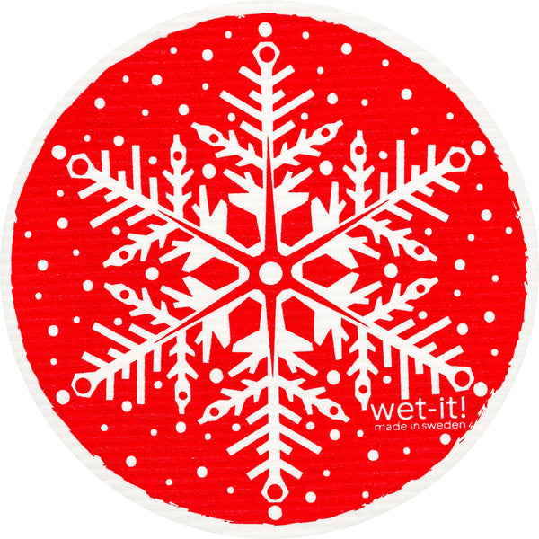 snowflake red round
