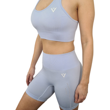 Load image into Gallery viewer, Seamless Shorts Seamless Bra Blue shorts blue bra yoga