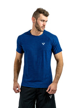 Load image into Gallery viewer, Muscle fit t-shirt blue t-shirt polyester t-shirt polyester gym t-shirt