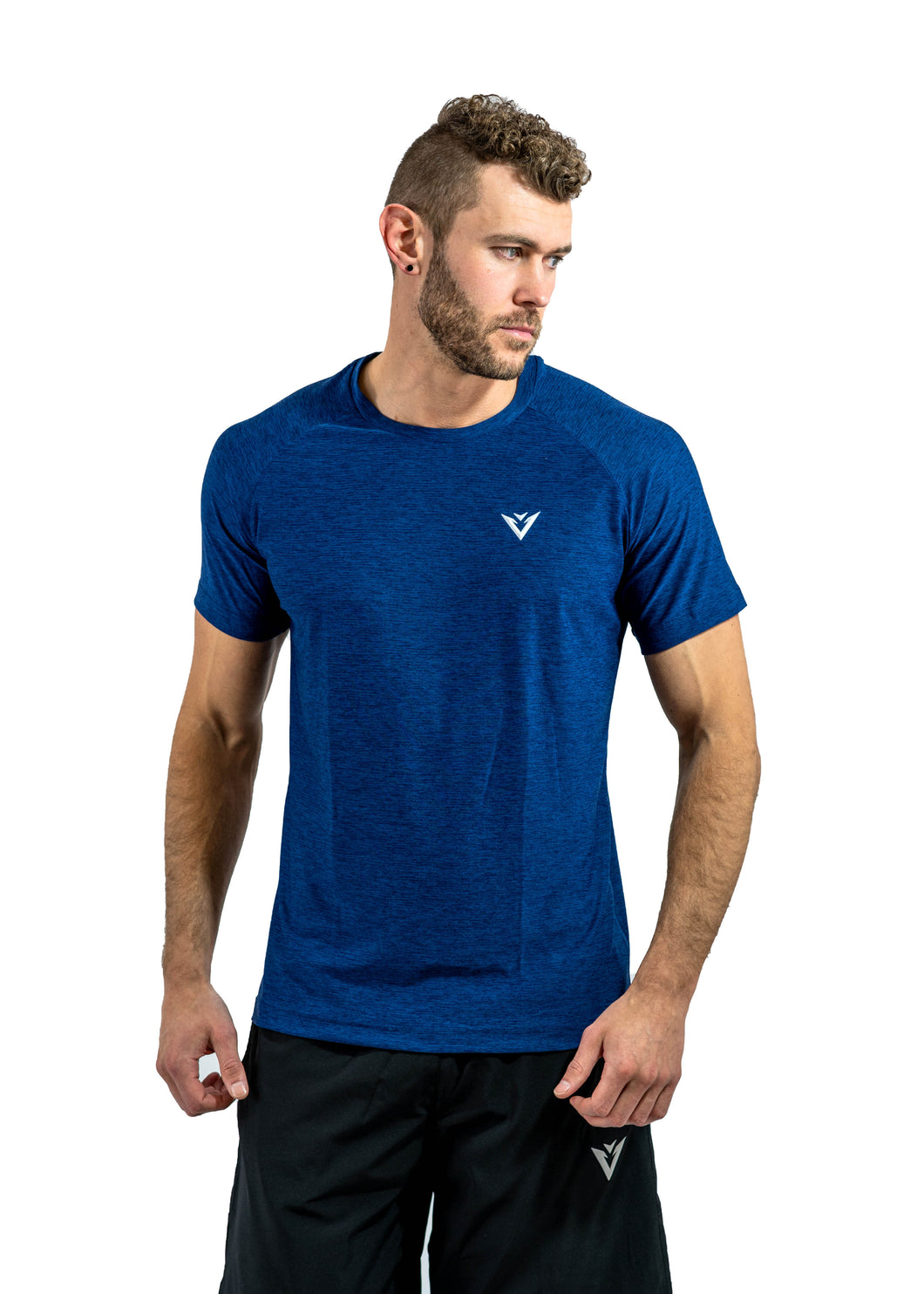 Muscle fit t-shirt blue t-shirt polyester t-shirt polyester gym t-shirt
