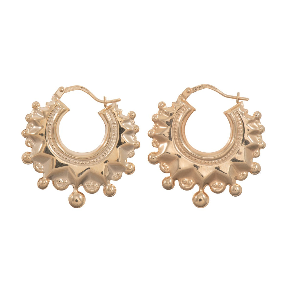 9ct Gold Creole Spike Earrings 29mm