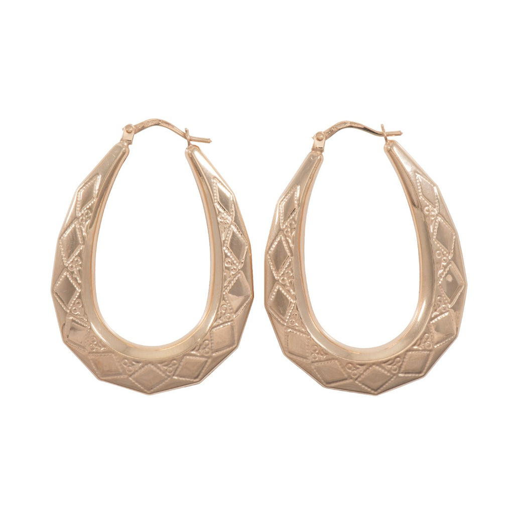 9ct Gold Oval Creole Earrings 40mm