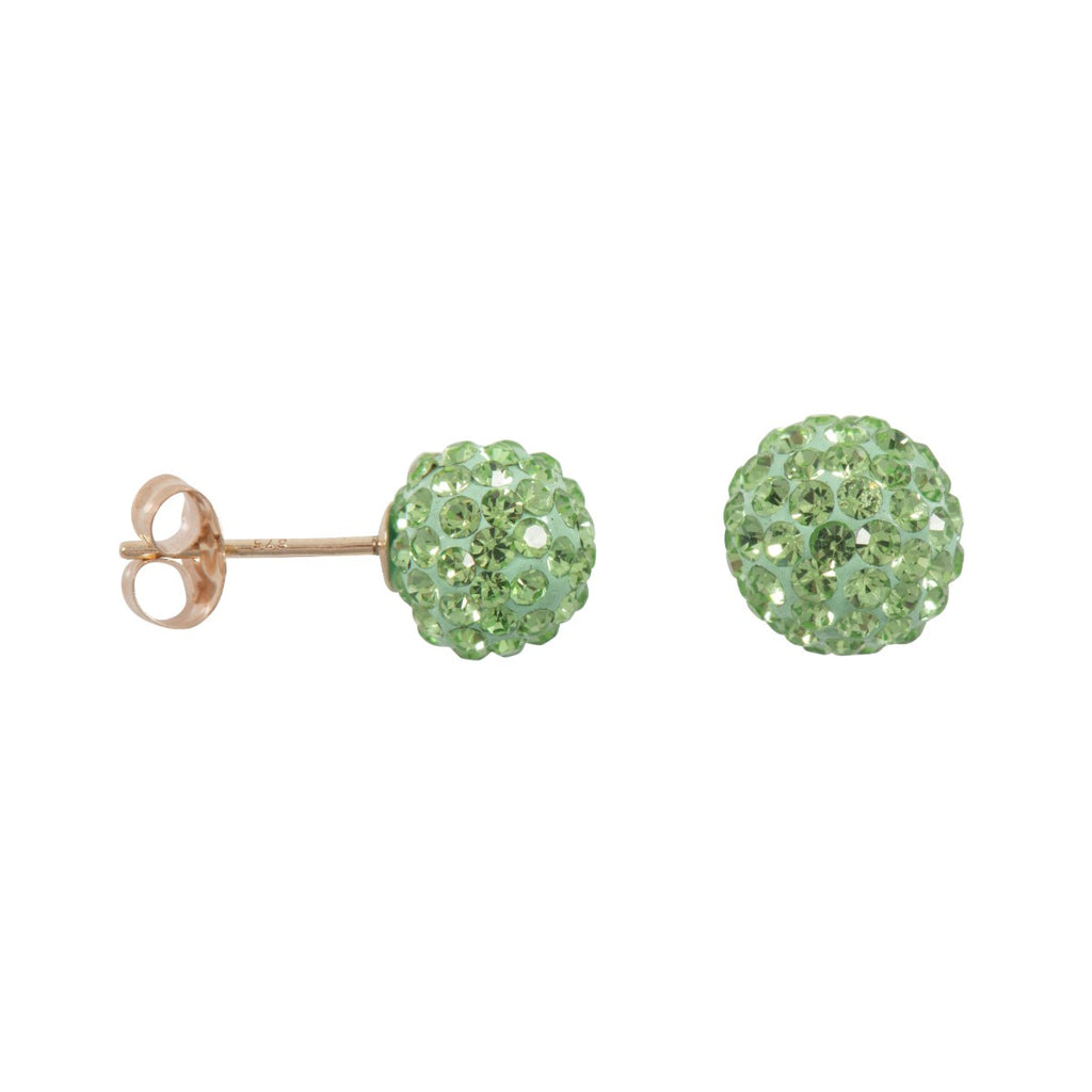 9ct Gold 7.5mm Peridot Green Crystal Stud Earrings