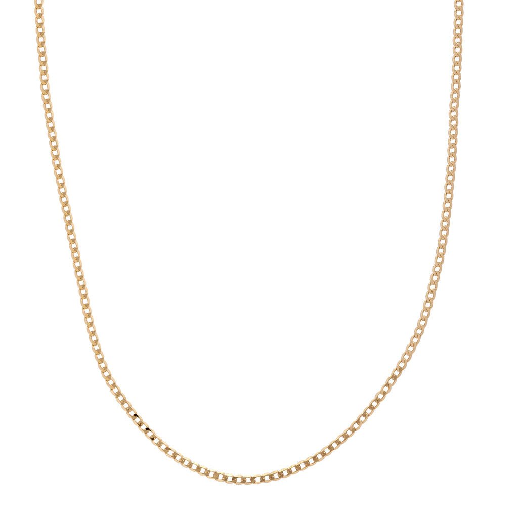 9ct Yellow Gold Ultra Flat Curb Chain 22 Inch