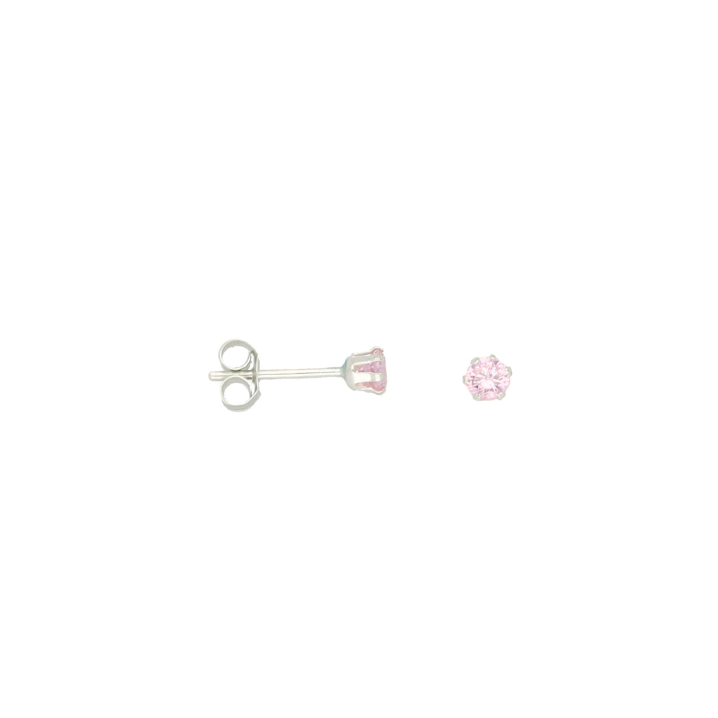 Sterling Silver 3mm Pink Cubic Zirconia Round Stud Earrings
