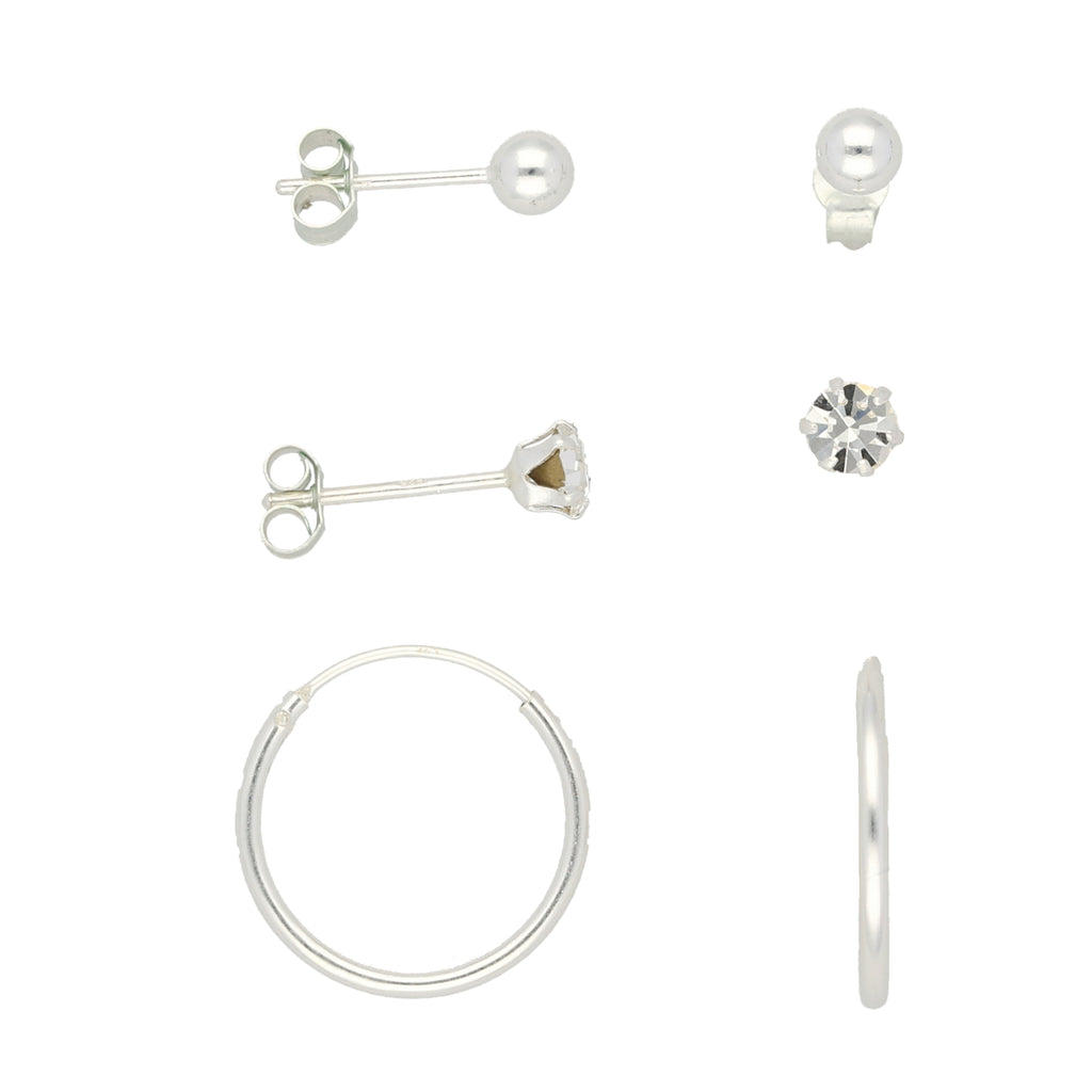 Set Of 3 Silver Studs & Hoops