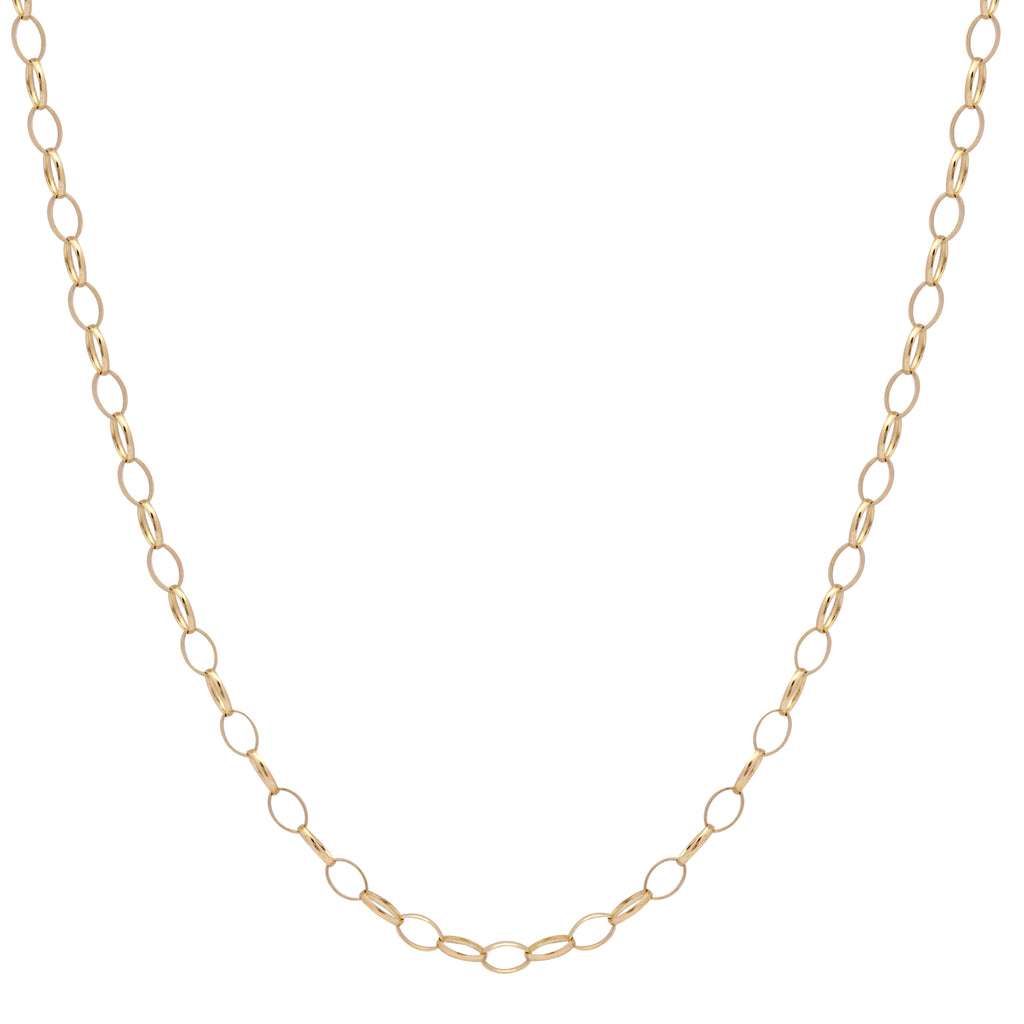 9ct Yellow Gold Oval Belcher Chain 18 Inch