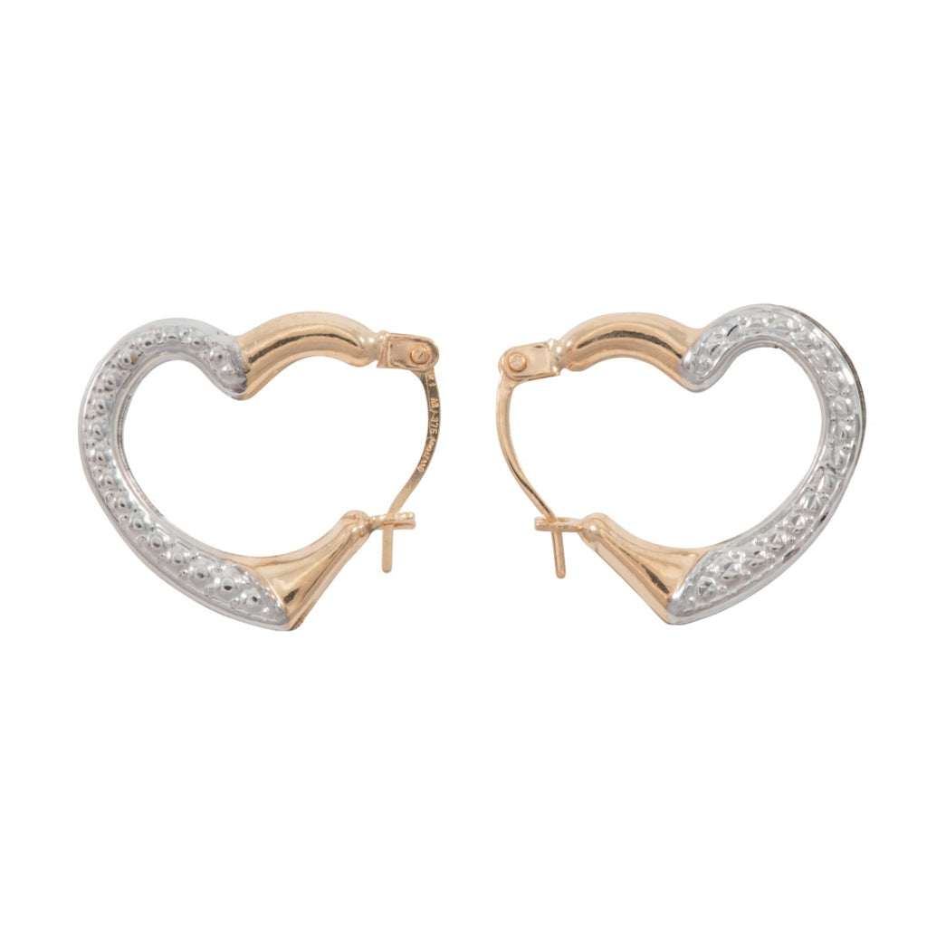 9ct Gold Heart Illusion Creole Earrings 17mm