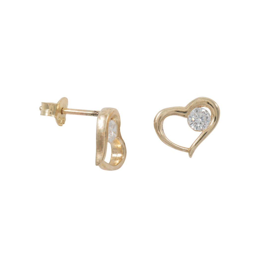 9ct Gold Single Cubic Zirconia in Heart Earrings