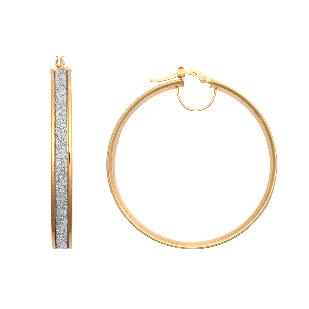 9ct Yellow Gold Glitter 40mm Hoop Earrings