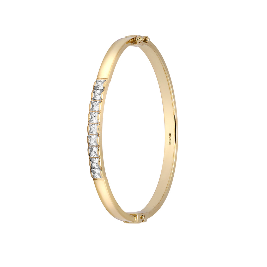 Kids 9ct Gold Kids Bangle With Row of Cubic Zirconia