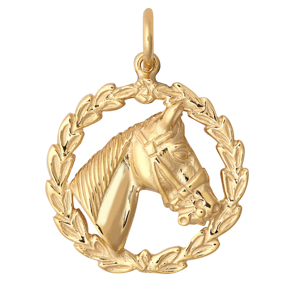 9ct Yellow Gold Horse Head Pendant