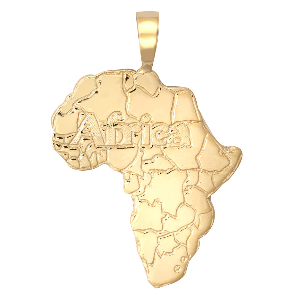 9ct Yellow Gold Africa Map Pendant