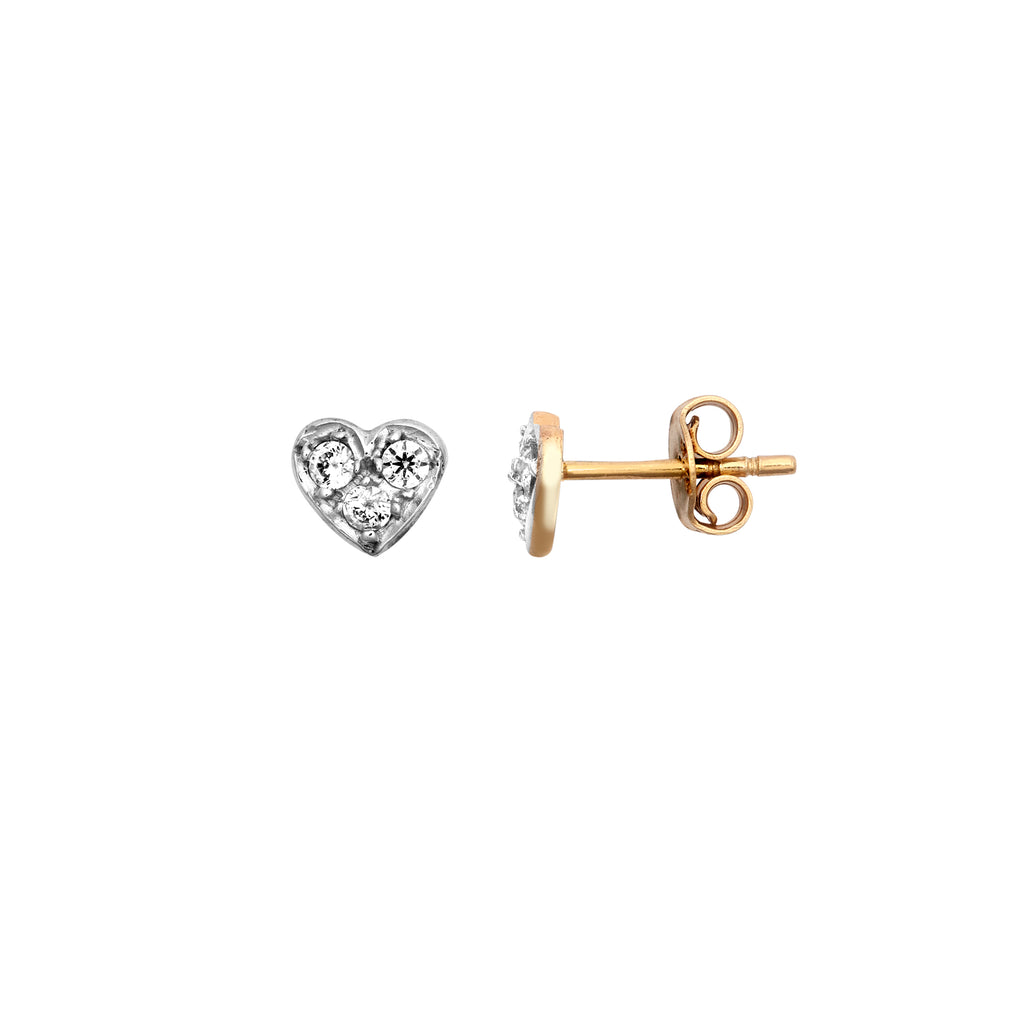 9ct Yellow Gold CZ Heart Stud Earrings