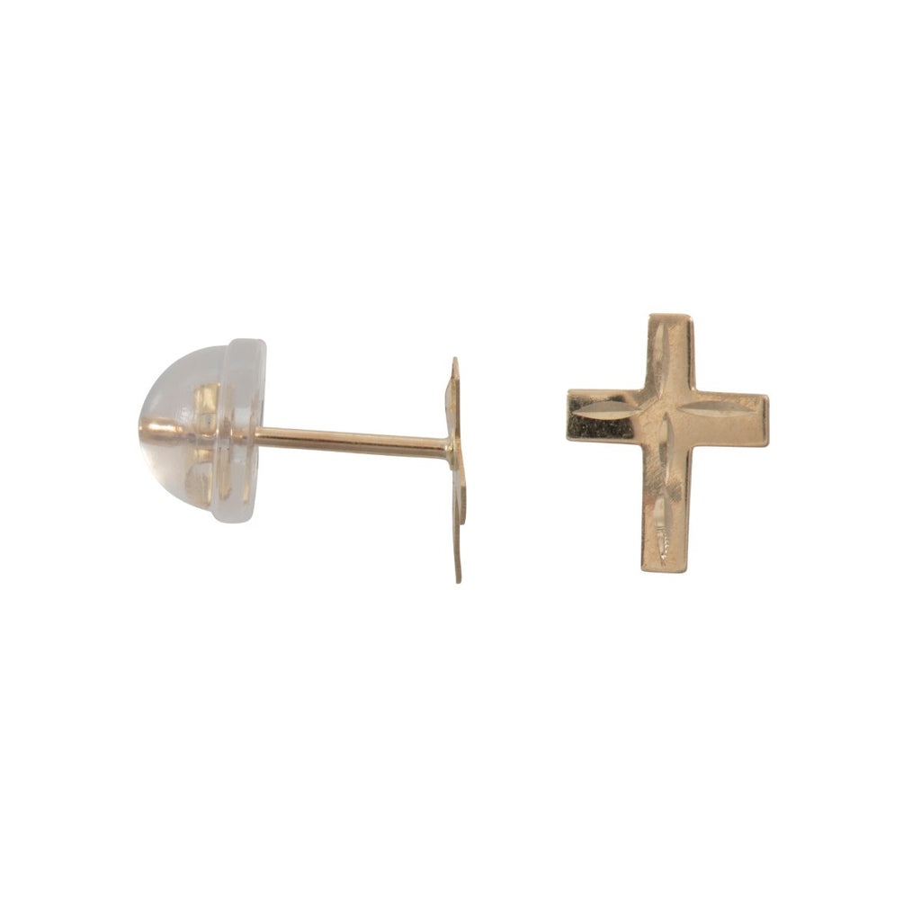 9ct Gold Small DI- Cut Cross Studs.