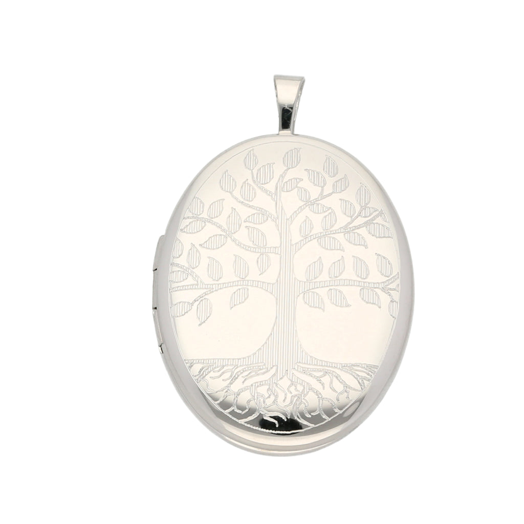 Sterling Silver Tree Of Life 20mm Oval Locket