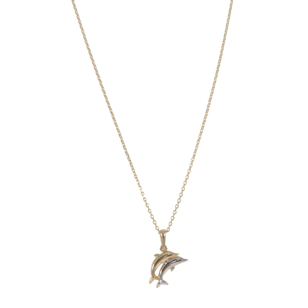 9ct Gold Two Tone Double Dolphin Pendant With Chain