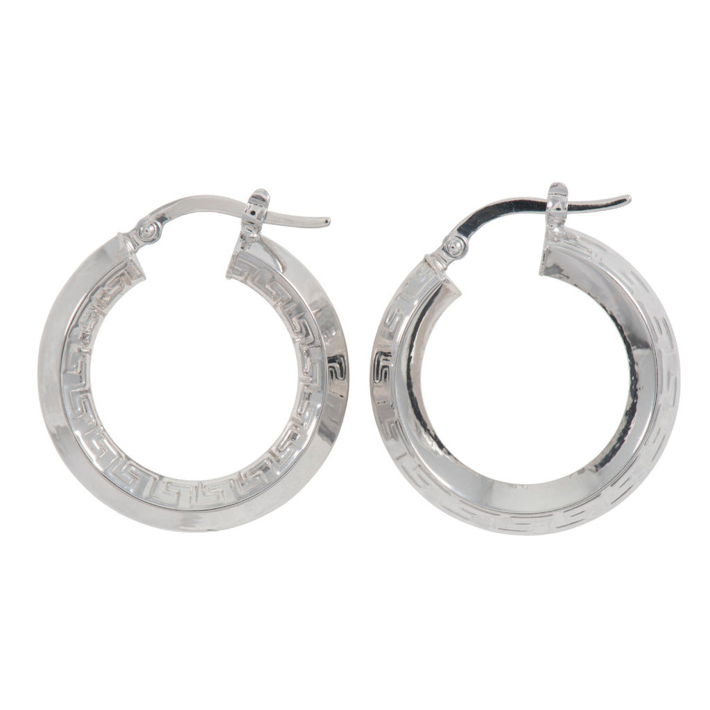 White Gold Greek Key Creole Earrings 22mm