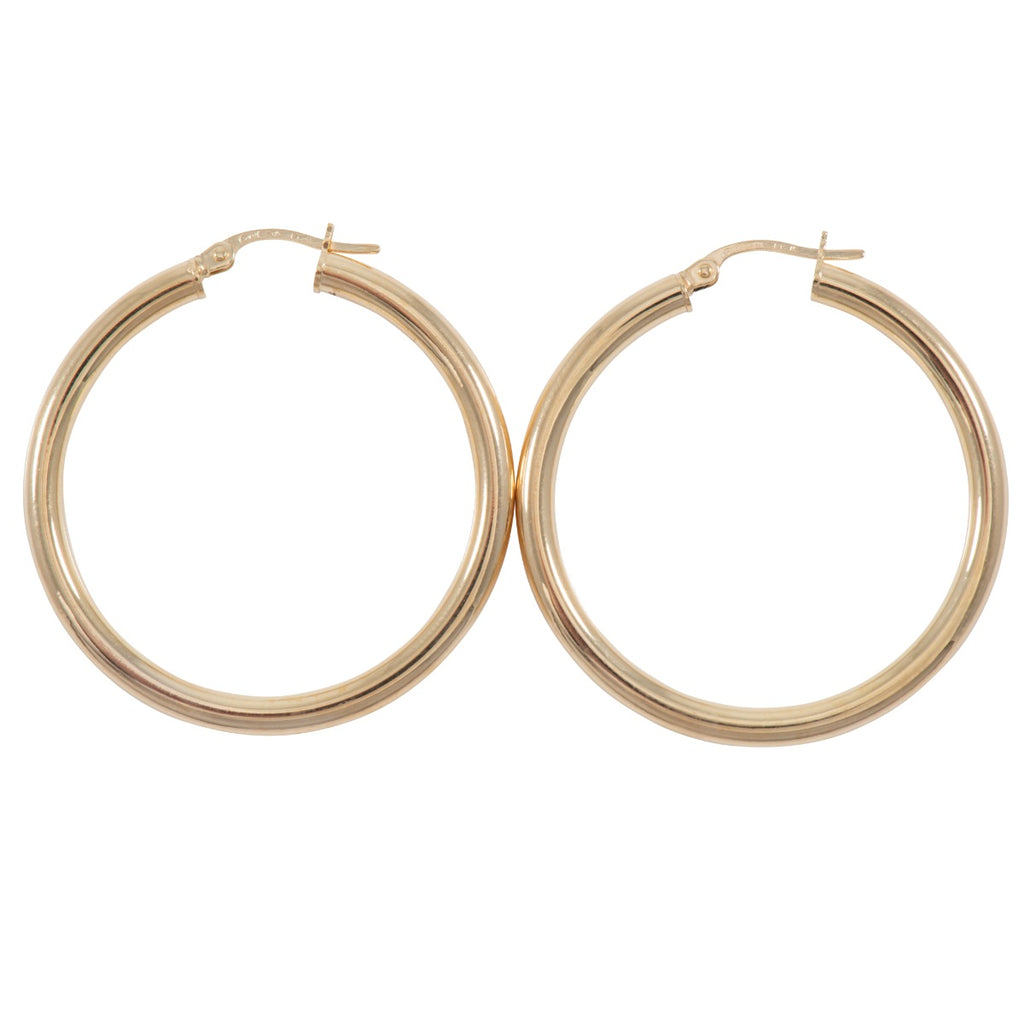 9ct Gold Hoop Earrings 38mm