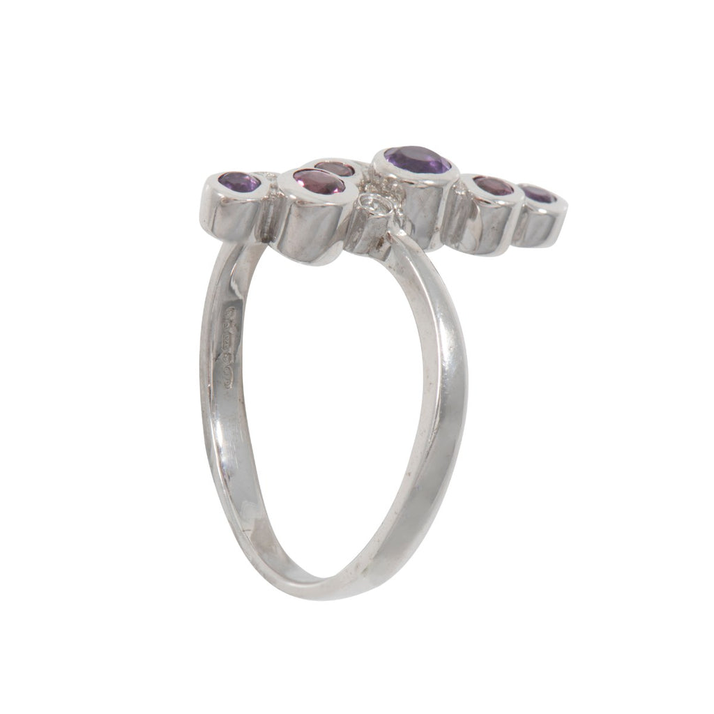 9ct Gold Diamond, Amethyst & Rhodolite Bubbles Ring