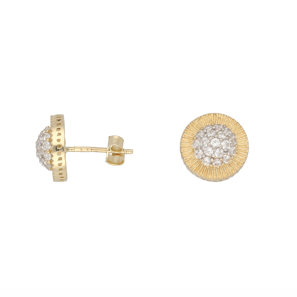 9ct Gold 12mm Round Cubic Zirconia Sunray Stud Earring