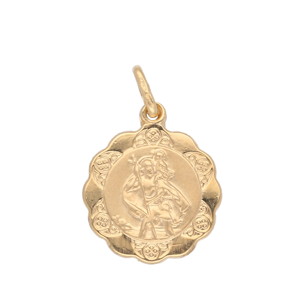 9ct Gold St Cristopher Medallion Pendant 12mm