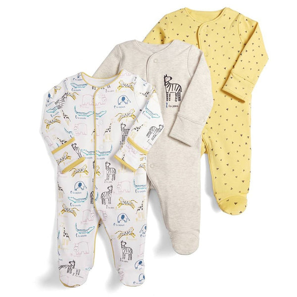 Baby Round Neck Long-Sleeve Pure Color Climbing Clothes American Football Jumpsuits Sleepwear
