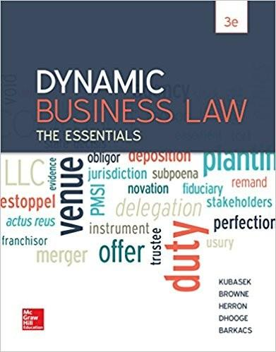 (eBook PDF) Dynamic Business Law The Essentials 3rd Edition by Kubasek