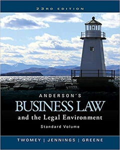 (eBook PDF) Anderson's Business Law and the Legal Environment, Standard Volume 23rd Edition
