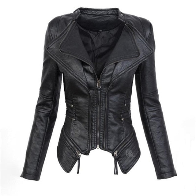 PU leather gothic biker chick black jacket.
