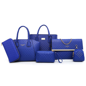 6 Pcs Argyle Pattern Handbag Set