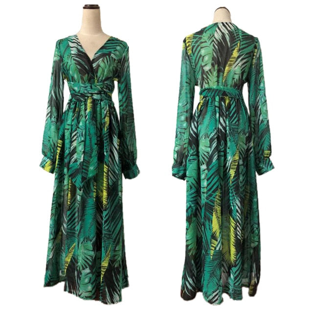 Hot Sale Women Boho Long Maxi Dress Ladies V-Neck Party Evening Summer Beach Sundress Green Purple Plus Size S-3XL